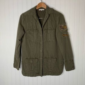 Willow & Clay green embellished military jacket S